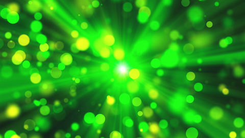 Blurred green lights as sun rays and shine particles with bokeh effect, 3d Footage
