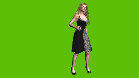 14 Animated model present cloth on green background Animation
