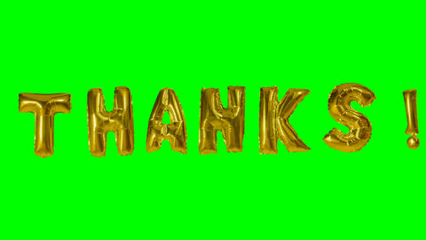 Word thanks from helium gold balloon letters floating on green screen Live Action