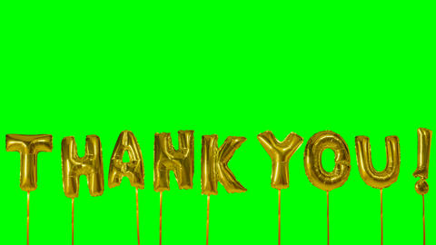 Word thank you from helium golden balloon letters floating on green screen Live Action