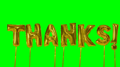 Word thanks from helium golden balloon letters floating on green screen Live Action