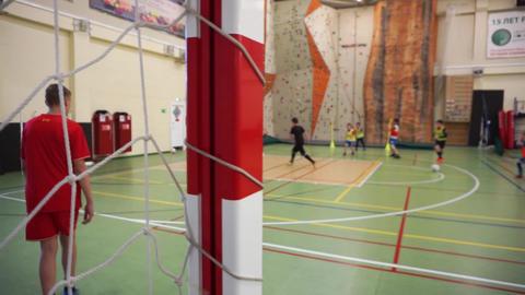 Children's indoor soccer training Footage