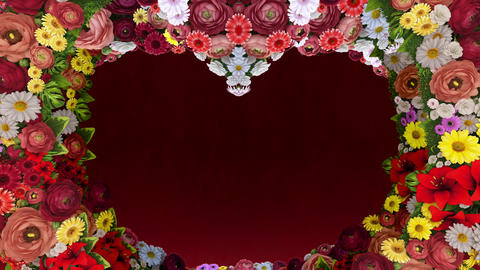 Animation of swirling flowers forming the silhouette of a heart on a red festive background. Animation