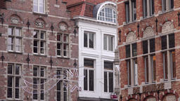Belgium Bruges facades of Flemish city houses with Christmas decoration Archivo