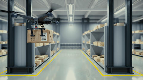 Quadcopter delivers a package from the warehouse Animación