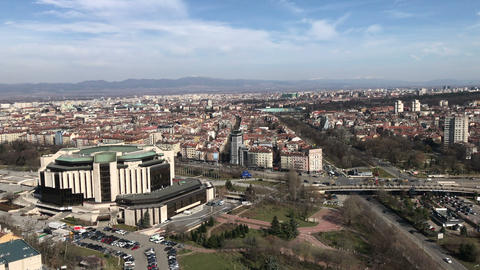 Aerial view of the National Palace of Culture (NDK) building in Sofia Live Action
