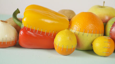 Genetically modified food. GMO fruits and vegetables ビデオ