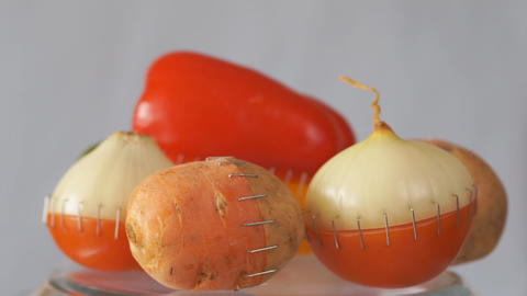 Vegetables hybrids. Genetically modified vegetables concept Footage