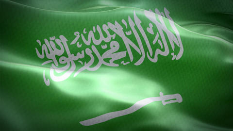 Realistic flag of Saudi Arabia waving with highly detailed fabric texture Footage