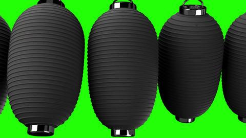 Black paper lantern on green chroma key Animation