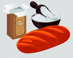 Baking soda in a paper bag, bowl and a loaf of wheat bread Vector