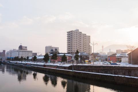 Otaru canal with snow in winter season Photo