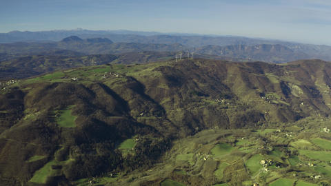 Aerial view of beautiful hilly landscape of Emilia-Romagna region in Italy Footage