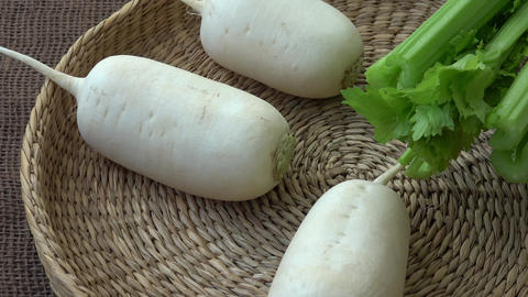 Fresh vegetables radish celery. Uncooked vegetables Footage