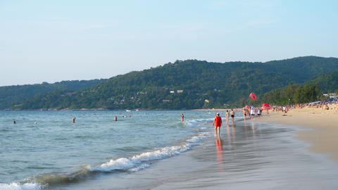 Azure waves rolled on the sand of Karon Beach GIF