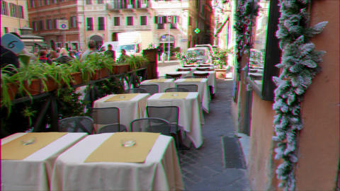 Glitch effect. Tables in the cafe. Rome, Italy - February 18, 2015: Cafe on the street Via in Aquiro Live Action