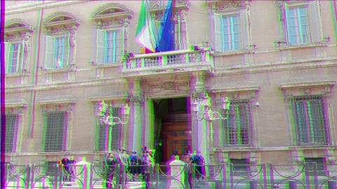 Glitch effect. Palazzo Madama. Rome, Italy - February 18, 2015: the residence of the Italian Senate, Live Action
