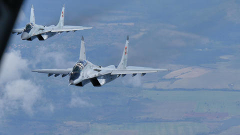 Cold War era Combat Aircrafts in Flight 4 Bulgarian MiG29 Air to Air 4K 4 ns Live Action