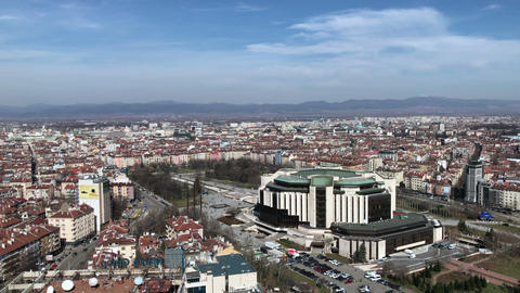 Aerial view of the National Palace of Culture building in Sofia GIF