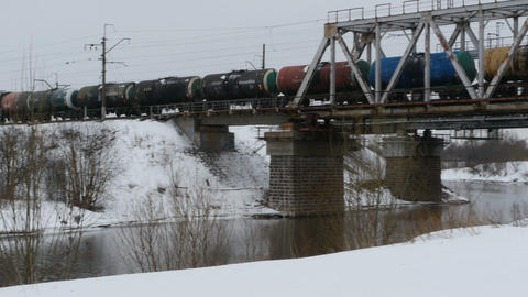 train with oil tanks camera in motion Footage