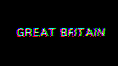From the Glitch effect arises country name GREAT BRITAIN. Then the TV turns off. Alpha channel Live Action