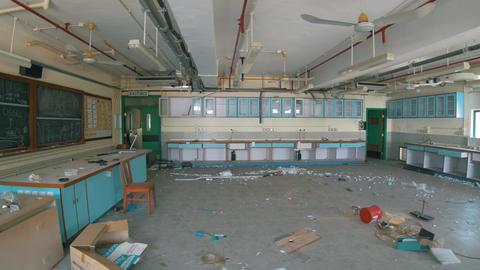 Abandoned School - Destroyed Chemistry Classroom 04 Footage