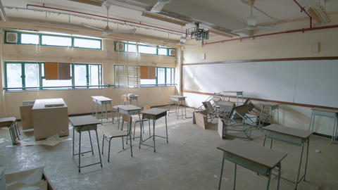 Abandoned School - Destroyed Classroom 05 Footage