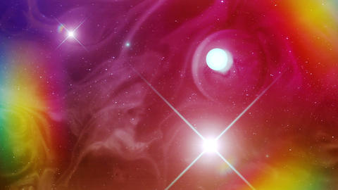 Very Colorful and Psychedelic Space Nebula and a Sun Footage
