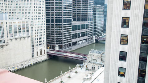 Time lapse of a bridge over the river Chicago Footage