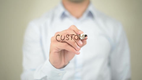 Customer Experience, Man writing on transparent screen Footage