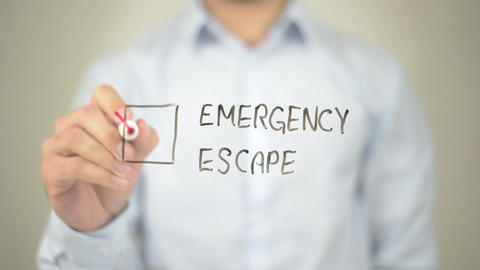 Emergency Escape, Man writing on transparent screen Live Action