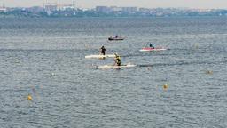 race sprint distance athletes men canoe Footage