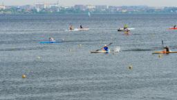 race sprint distance athletes men kayak Footage
