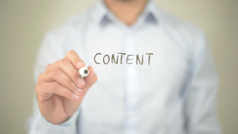 Content Marketing, Man writing on transparent screen Footage