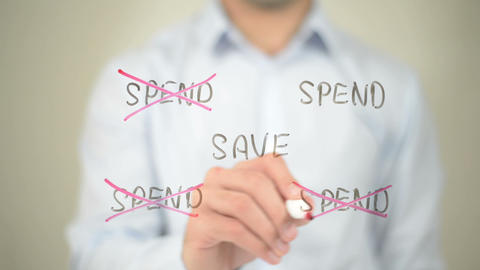 Save, Spend Illustration, Man writing on transparent screen Footage