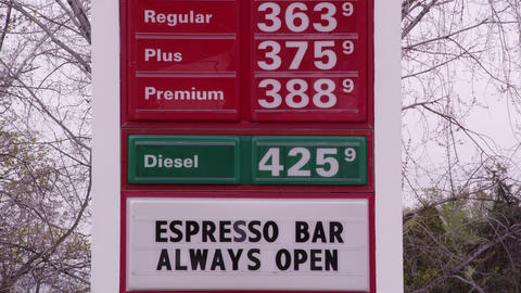 Billboard gas price sign. Regular, Plus, Premium Footage