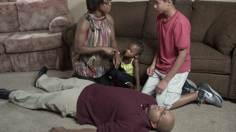 Family teaching how to care for people at home Footage