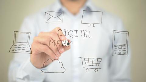 Digital Marketing, Man writing on transparent screen Footage