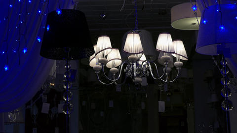 1080p Chandeliers Flashing Lamps in Store at Night Footage