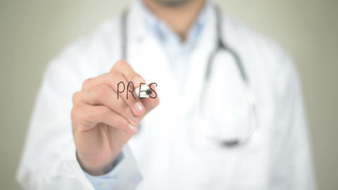 Prescription, Doctor Writing On Transparent Screen stock footage