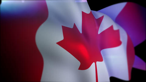 Waving Canadian Flag in Black Backdrop Animation