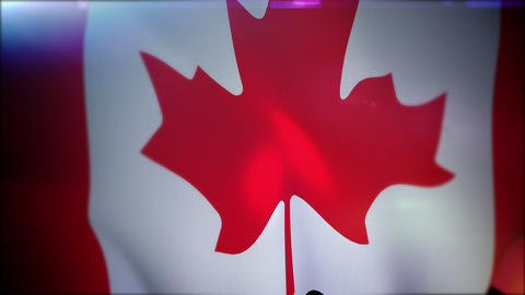 Flapping Canadian Banner in Black Backdrop CG動画素材