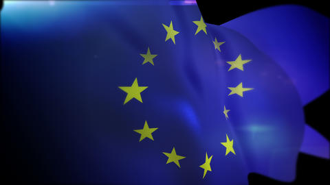 Fluttering European Union Flag in Slo-Mo Animation