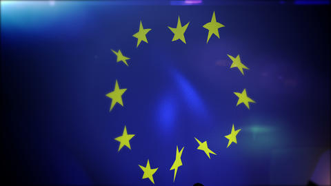 Waving European Union Banner in Slo-Mo Animation