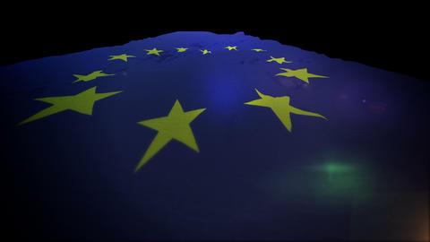 Cheery European Union Banner Rising Up Animation