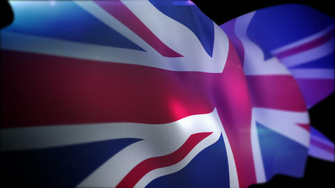 Actively Waving British Union Jack Animation