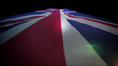 Fluttering British Flag Rising Up Actively Animation