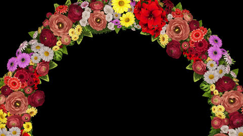 Animation of a swirling ring of flowers on a black background. Loop video CG動画
