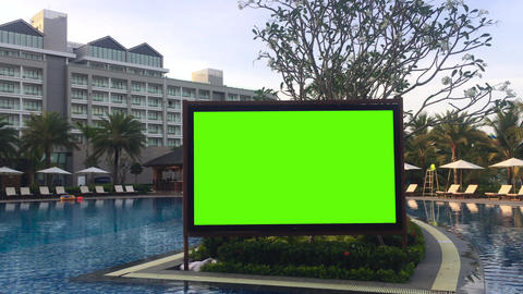 Large greenscreen led board in resort entertainment zone for party or event Archivo