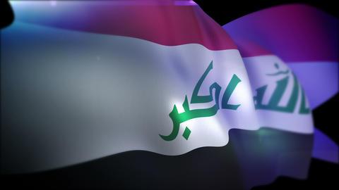 Cheerily Fluttering Banner of Iraq Animation